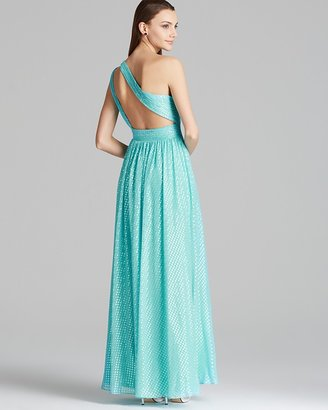 Aqua Gown - One Shoulder Foil Silk Chiffon with Pleated Skirt