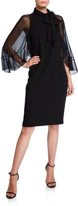 Rickie Freeman For Teri Jon Tie-Neck Sheer-Sleeve Crepe Sheath Dress