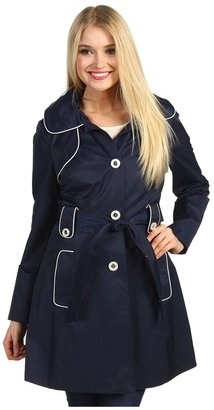 Jessica Simpson Hooded Trench w/ Contrast Piping (Navy/White) - Apparel