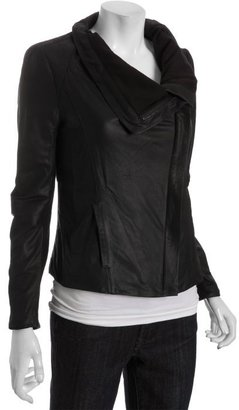 Elie Tahari black lamb leather 'Virgina' wide collar asymmetrical jacket