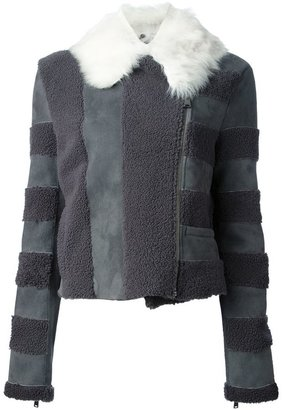 Fendi paneled aviator jacket