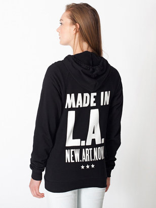 American Apparel Unisex Made in LA Screen Printed California Fleece Zip Hoodie