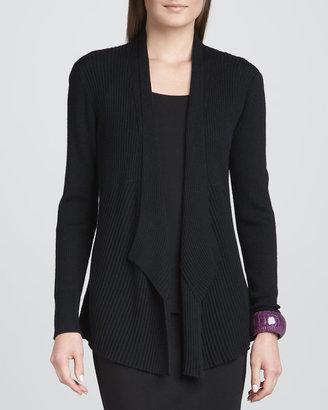 Eileen Fisher Mixed-Texture Merino Cardigan, Black
