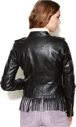 Steve Madden Asymmetrical Faux-Leather Fringe Jacket