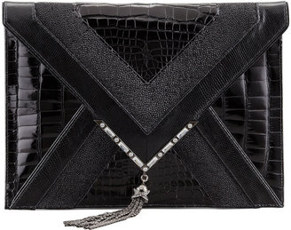 Notte by Marchesa Elisa Mixed-Exotic Clutch Bag, Black