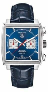 Tag Heuer Mens Monaco Alligator Strap Blue Dial Watch CAW2111FC618