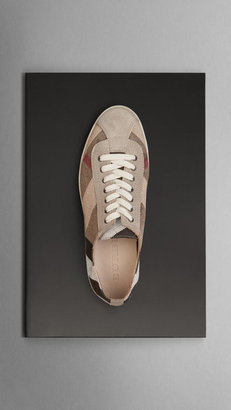 Burberry Brit Check Suede Detail Trainers