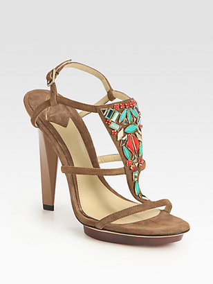 Brian Atwood Donosa Jewel-Embellished Suede Platform Sandals