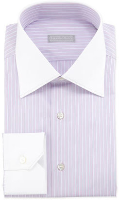 Stefano Ricci Multi-Striped Contrast-Collar Dress Shirt $650 thestylecure.com