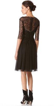 Monique Lhuillier Melted Lace Cocktail Dress