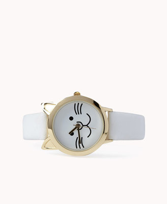 Forever 21 Faux Leather Cat Watch