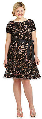 S.L. Fashion Woman Belted Lace Dress