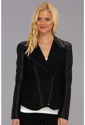 Blank NYC Wool Jacket w/ Vegan Leather Patchwork (Black) - Apparel