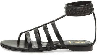 Fendi Studded Leather Cage Sandal, Black