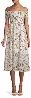 Sam Edelman Floral Printed Off-The-Shoulder Smocked Bodice Dress