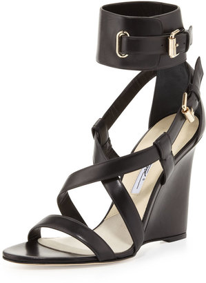 Brian Atwood Wedge Sandal with Ankle Wrap, Black