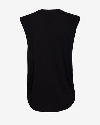 Theory Elastic Band Cut Out Side Tank: Black