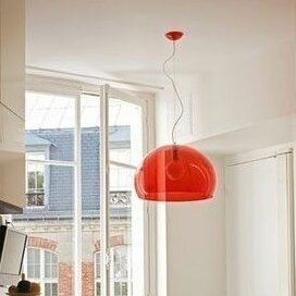 Kartell 1 - Light Single Dome Pendant Shade Color: Red