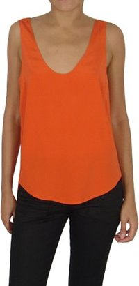 Zero Maria Cornejo Orange Slim Silk Tank