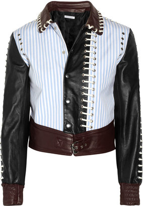 J.W.Anderson Stitched leather and twill bomber jacket