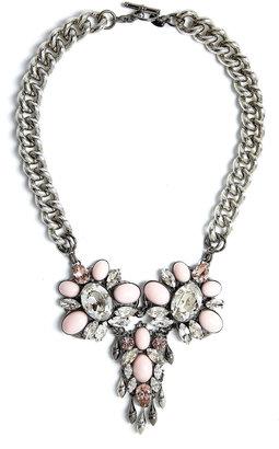Anton Heunis Pastel Pink Crystal Floral Necklace