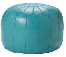 Turquoise Moroccan Leather Pouf