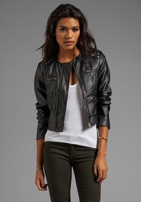 BB Dakota Adela PU Cropped Studded Shoulder Moto Jacket