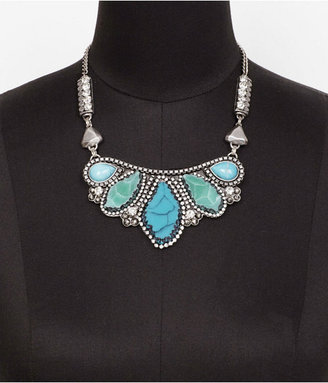 Express Cabochon And Agate Encrusted Bib Necklace