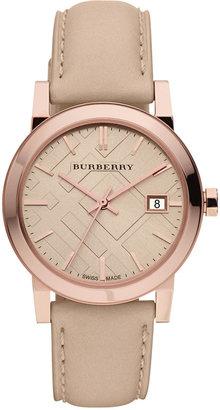 Burberry Watch, Women's Swiss Nude Leather Strap 34mm BU9109 $495 thestylecure.com