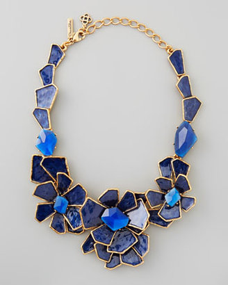 Oscar de la Renta Geometric Floral Bib Necklace, Blue
