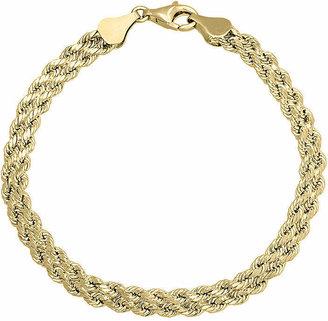 """Fine Jewelry 10K Gold 4.9mm 7.25"""" Double Rope Bracelet"""