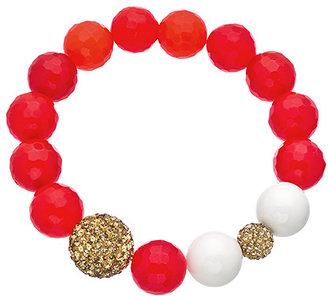 Very Me Tangerine Agate White Coral Stretch Bead Bracelet