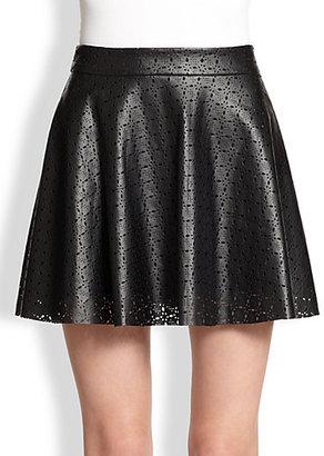 Ella Moss Deborah Laser-Cut Faux Leather Skirt
