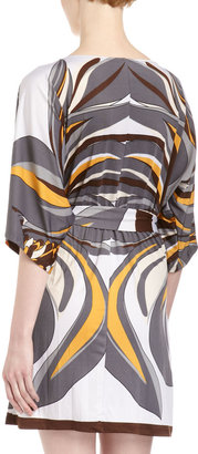Julie Brown JB by Gilly New Floral Pucci Tie Stretch Jersey Dress