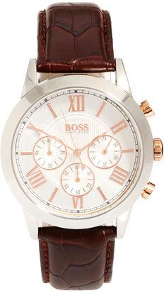 HUGO BOSS Leather Brown Chronograph Watch 21512528