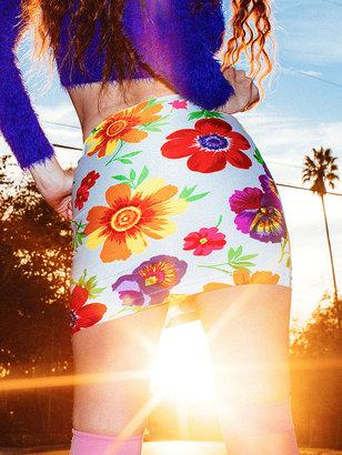 American Apparel Floral High-Waist Mini Skirt