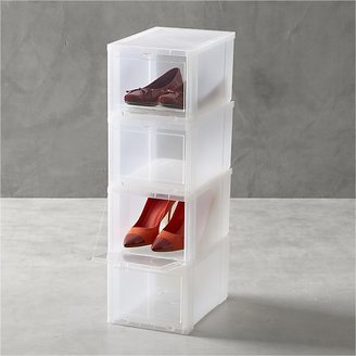 """Crate & Barrel Set of four small clear shoe boxes. Each meaures 8.7""""Wx12.5""""Dx7.1""""H"""