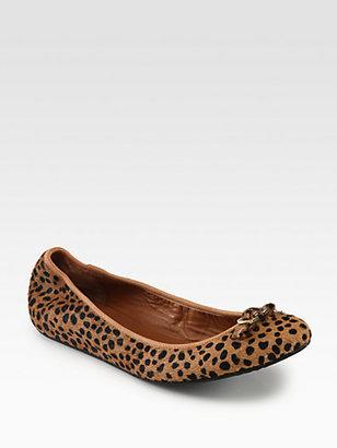 Diane von Furstenberg Bion Leopard-Print Calf Hair Buckle Ballet Flats
