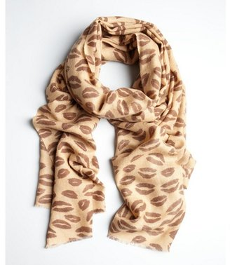 MIR camel cashmere-wool 'Leopard Kiss' fringed scarf