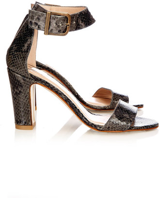 Wallis Black Snake Print Leather Sandal