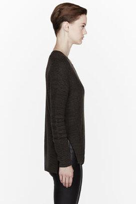 Helmut Lang Olive green alpaca-silk blend ribbed sweater