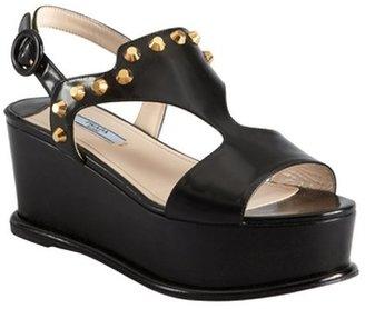 Prada black studded leather flatform sandals