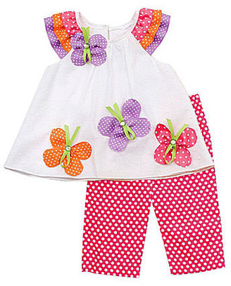 Rare Editions Infant Butterfly-Appliqued Top & Clip-Dot Leggings