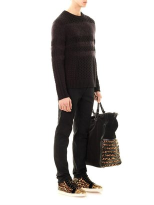Christian Louboutin Maurice jute and leopard bag