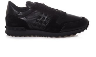 Valentino Studded leather and suede trainers