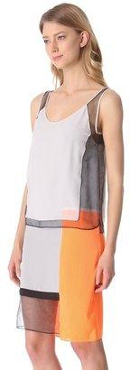 Helmut Lang Chroma Drape Colorblock Dress