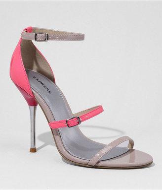 Express Multi Strap Metal Tipped Heel Patent Sandal
