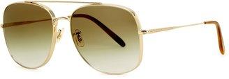 Oliver Peoples Taron Gold-tone Square-frame Sunglasses