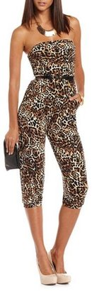 Charlotte Russe Belted Cropped Animal Jumpsuit
