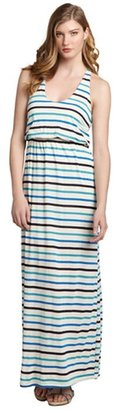 The Vanity Room blue and oatmeal striped linen blend maxi racerback dress